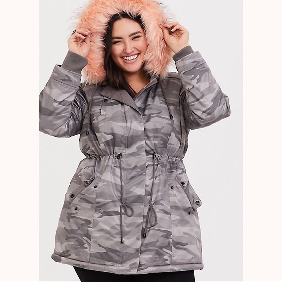 75610b232ad21e torrid Jackets & Coats | Camo Coat With Pink Fur Lining | Poshmark